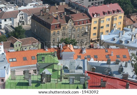 bird's-eye view of colorful roofs of tallinn, estonia - stock photo