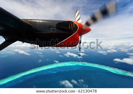 bird's-eye view of maldives atolls - stock photo