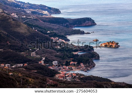 Bird's eye view of Montenegro coast - stock photo