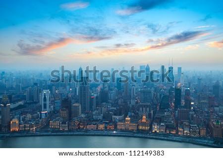 bird's eye view of shanghai bund at sunset - stock photo