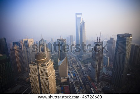 Bird's eye view of Shanghai Pudong . - stock photo