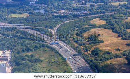Bird's eye view of streets around London Heathrow Airport in London, UK - stock photo