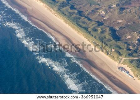 Bird's eye view of Western shoreline of Netherlands - stock photo
