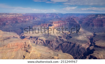 Bird's eye view on the west rim of the Grand Canyon National Park in the US - stock photo