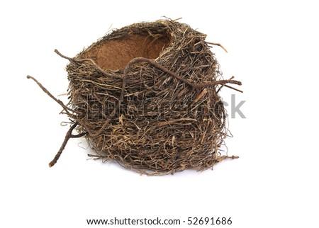 bird's nest, isolated on a white background - stock photo