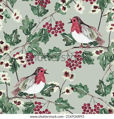 Bird seamless pattern - stock photo