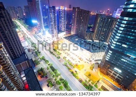 Bird view at Shanghai China - stock photo