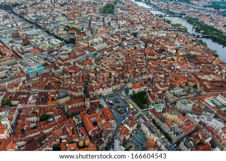 Bird view of old town square  - stock photo