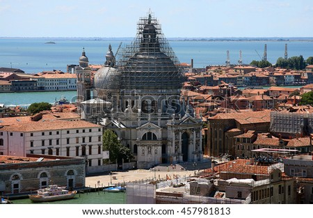 Bird view of Venice lagoon Basilica Santa Maria della Salute from Campanile di San Marco. Venice, Italy. July, 2007. - stock photo