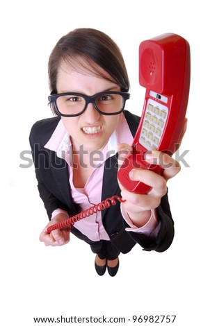 bird view shot of a nerdy business woman - stock photo