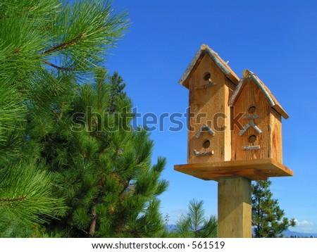Birdhouse Duplex - stock photo