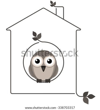 Birdhouse made of twigs isolated on white background - stock photo