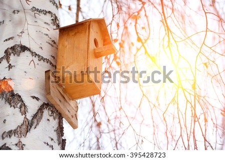 Birdhouse on a birch tree in winter. Toned - stock photo