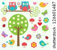 Birds and owls in spring forest.Raster version - stock photo