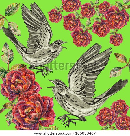 birds and roses - stock photo