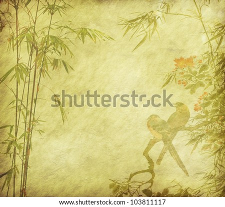 birds and Silhouette of branches of a bamboo on paper background - stock photo