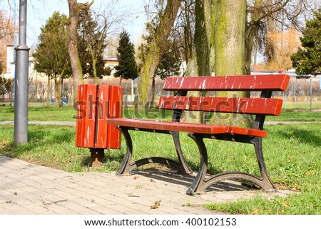 Birds droppings on park bench. - stock photo
