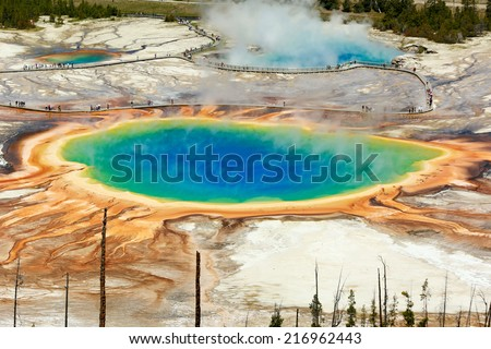 birds-eye view of the Grand Prismatic pool in Yellowstone National Park - stock photo