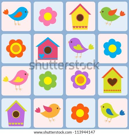 Birds, flowers and birdhouses. Raster version - stock photo