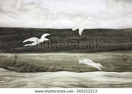 birds flying over the sea , black and white cut out           - stock photo