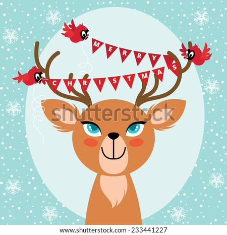 Birds hang Christmas lights on the horns of a deer/Birds and Christmas reindeer/Christmas card with bird and deer - stock photo