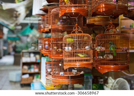 Birds in cages for sale at Birds market, Kowloon Hong Kong, popular tourist destination. - stock photo