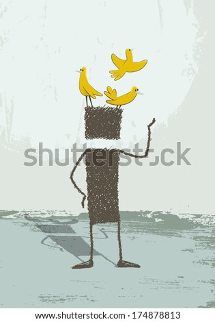 Birds in the head. A person is standing. At its head are several birds perched. A conceptual illustration of the phrase have birds on the head. Being distracted, scatterbrained, be a dreamer, ... - stock photo