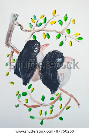 Birds on branch painting - stock photo