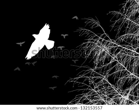 Birds on the tree. Raster - stock photo