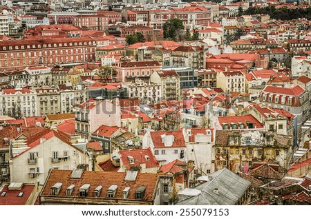 Birdseye sightseeing view of old downtown of Lisbon, Portugal - stock photo