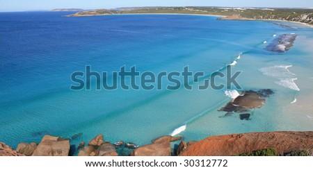 Birdseye view of West Beach, Esperence, Australia - stock photo