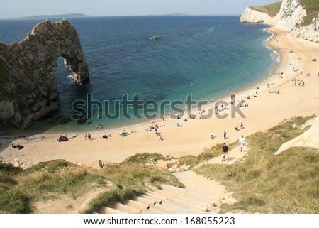 birdview of Durdle Door beach, United Kingdom - stock photo