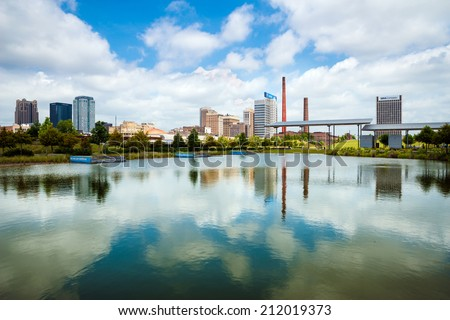 BIRMINGHAM, AL - Aug. 19, 2014: View of downtown Birmingham, AL, on Aug. 19, 2014, from Railroad Park.  - stock photo