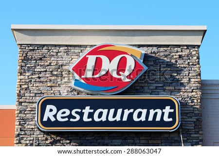 BIRMINGHAM, AL-JUNE, 2015:  Dairy Queen restaurant.  DQ is a chain of soft serve and fast food restaurants owned by International Dairy Queen, Inc, a subsidiary of Berkshire Hathaway.  - stock photo