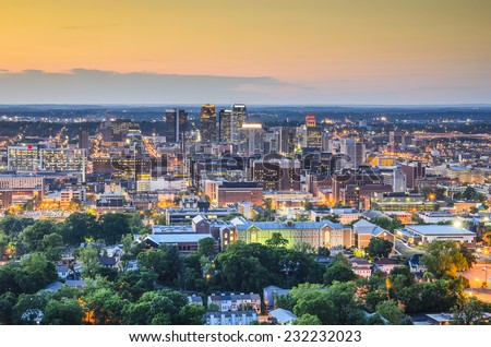 Birmingham, Alabama, USA downtown skyline. - stock photo