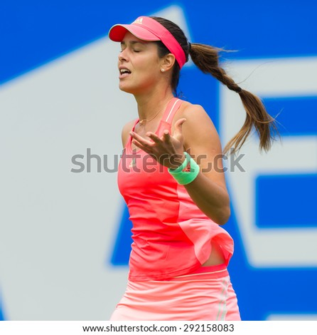 BIRMINGHAM, GREAT BRITAIN - JUNE 17 :  Ana Ivanovic in action at the AEGON Classic 2015 WTA Premier tennis tournament - stock photo
