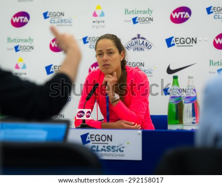 BIRMINGHAM, GREAT BRITAIN - JUNE 17 :  Ana Ivanovic talks to the media after her first-round loss at the AEGON Classic 2015 WTA Premier tennis tournament - stock photo