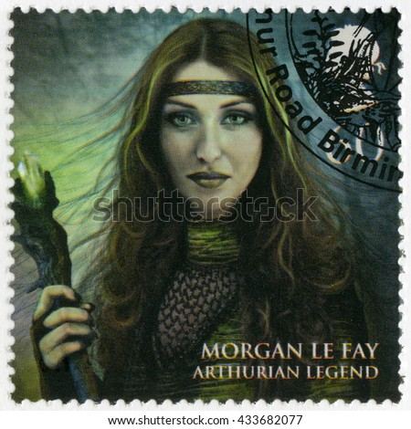 BIRMINGHAM, GREAT BRITAIN - MARCH 08, 2011: A stamp printed in Great Britain shows portrait of Morgan Le Fay, Arthurian legend, series Magical Realms - stock photo