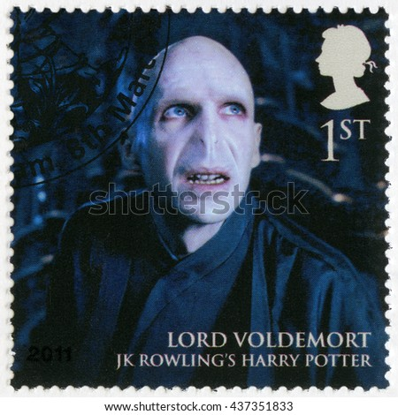 BIRMINGHAM, GREAT BRITAIN - MARCH 08, 2011: A stamp printed in Great Britain shows portrait of Lord Voldemort, series Magical Realms - stock photo