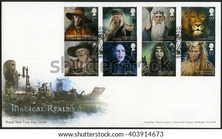 BIRMINGHAM, GREAT BRITAIN - MARCH 08, 2011: A stamp printed in Great Britain shows series Magical Realms - stock photo