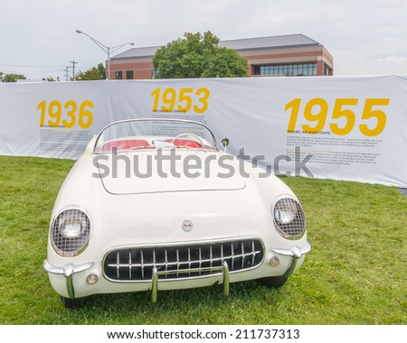 BIRMINGHAM, MI/USA - AUGUST 16, 2014: A 1953 Chevrolet Corvette car at the Woodward Dream Cruise, the world's largest one-day automotive event. National Scenic Byway - stock photo