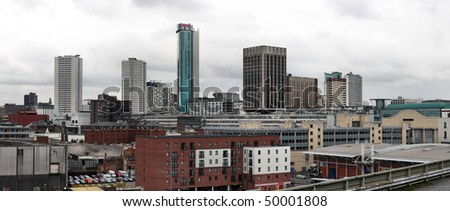 Birmingham skyline panorama with modern office buildings seen from Digbeth. West Midlands, England. Rainy day. - stock photo