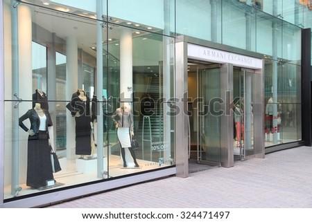 BIRMINGHAM, UK - APRIL 19, 2013: Armani Exchange store in Birmingham, UK. Giorgio Armani group had 1.8 billion EUR in revenue in 2011. - stock photo