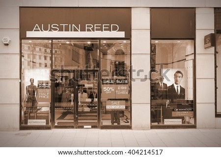 BIRMINGHAM, UK - APRIL 19, 2013: Austin Reed boutique on April 19, 2013 in Birmingham, UK. The upmarket fashion retailer was founded in 1900 and has 70 retail outlets. - stock photo