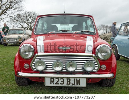 BIRMINGHAM,UK-APRIL12 2014 : Mini Cooper on display at the annual Pride of Longbridge meeting on April 12 2014 in Birmingham, UK. Any vehicle that was made at Longbridge can be displayed. - stock photo