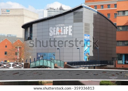 BIRMINGHAM, UK - APRIL 19, 2013: National Sea Life Centre in Birmingham, UK. It opened in 1996 and has seahorses, sharks, sting rays and otters. - stock photo