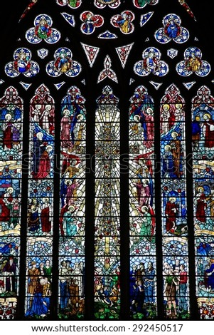 BIRMINGHAM, UK - APRIL 24, 2013: Stained glass inside St Martin in the Bull Ring church in Birmingham. The current church was rebuilt in 1873 by architect J. A. Chatwin. - stock photo