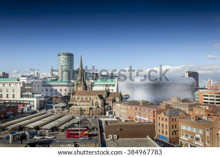 BIRMINGHAM, UK - February 24 2016: View of the skyline of Birmingham, UK including The church of St Martin, the Bullring shopping centre and the outdoor market. - stock photo