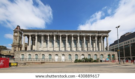 BIRMINGHAM, UK - JUNE 2 2016:Birmingham Town Hall. Birmingham metropolitan area is the 2nd most populous in the UK with 3.7 million people. - stock photo