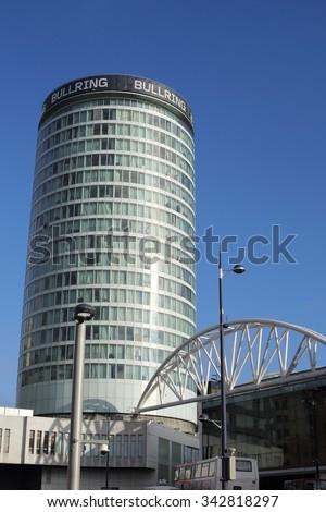 Birmingham, UK - 21 Nov 2015: The Rotunda Building is part of the Bullring Shopping Centre in Birmingham. - stock photo